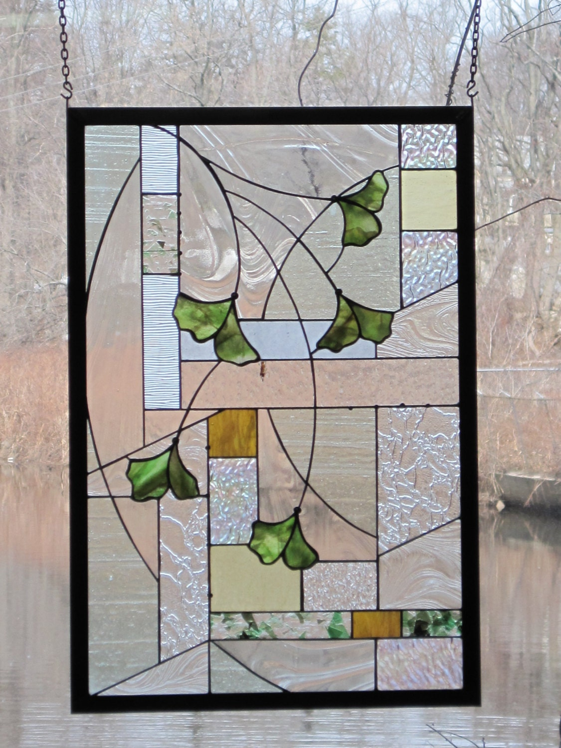 Items similar to arts and crafts style stained glass for Arts and crafts glass
