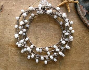 Pearl crochet wrap bracelet, Bohemian bridal jewelry, pearl white, shabby boho chic, bridesmaids gift, beach, feminine, ivory
