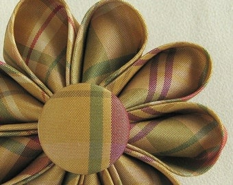 Silk Flower Brooch, Golden Berry Plaid - Lapel Pin - Upcycled Kanzashi