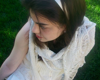 Pattern Only Ella Enchanted Crescent Shaped Lace Shawlette or Scarf