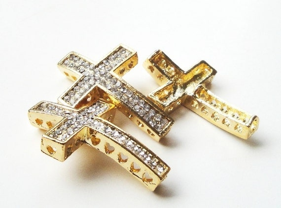 Cross connector gold necklace link sideway