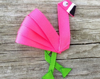 Flamingo Hair Clip, Pink Flamingo Hair Clip, Flamingo Ribbon Hair Clip, Toddler Hair Clip, Zoo Animal Hair Clip, Summer Hair Bow