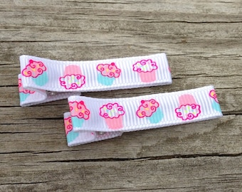 Cupcake Hair Clip, Birthday Girl Hair Clip, Ribbon Lined Hair Clips, Toddler Hair Clip, Pink and Aqua Cupcake Hair Clip Set, Girls Hair Bows