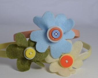 Set of 3 headbands, designer's choice, featuring a felt flower & button detachable barrette