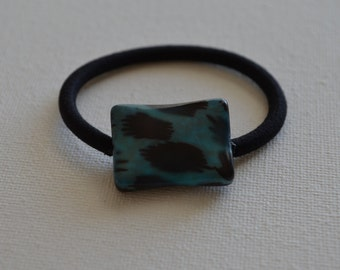 Black with teal green accents rectangle bead, ponytail holder