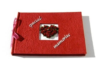 Red Guest Book or Memory Book- Heart of Roses