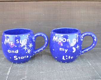 OOAK My Sun and Stars / Moon of My Life - His and Hers Ceramic Mug Set - Game of Thrones Inspired - Daenerys Targaryen and Khal Drogo