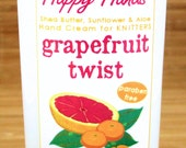 Grapefruit Tangerine Scented Hand Cream for Knitters - 4oz Medium HAPPY HANDS Shea Butter Aloe Hand Lotion Paraben-Free