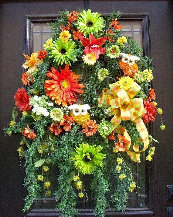 Colorful spring summer wreath owl wreath spring by luxewreaths for Colorful summer wreaths