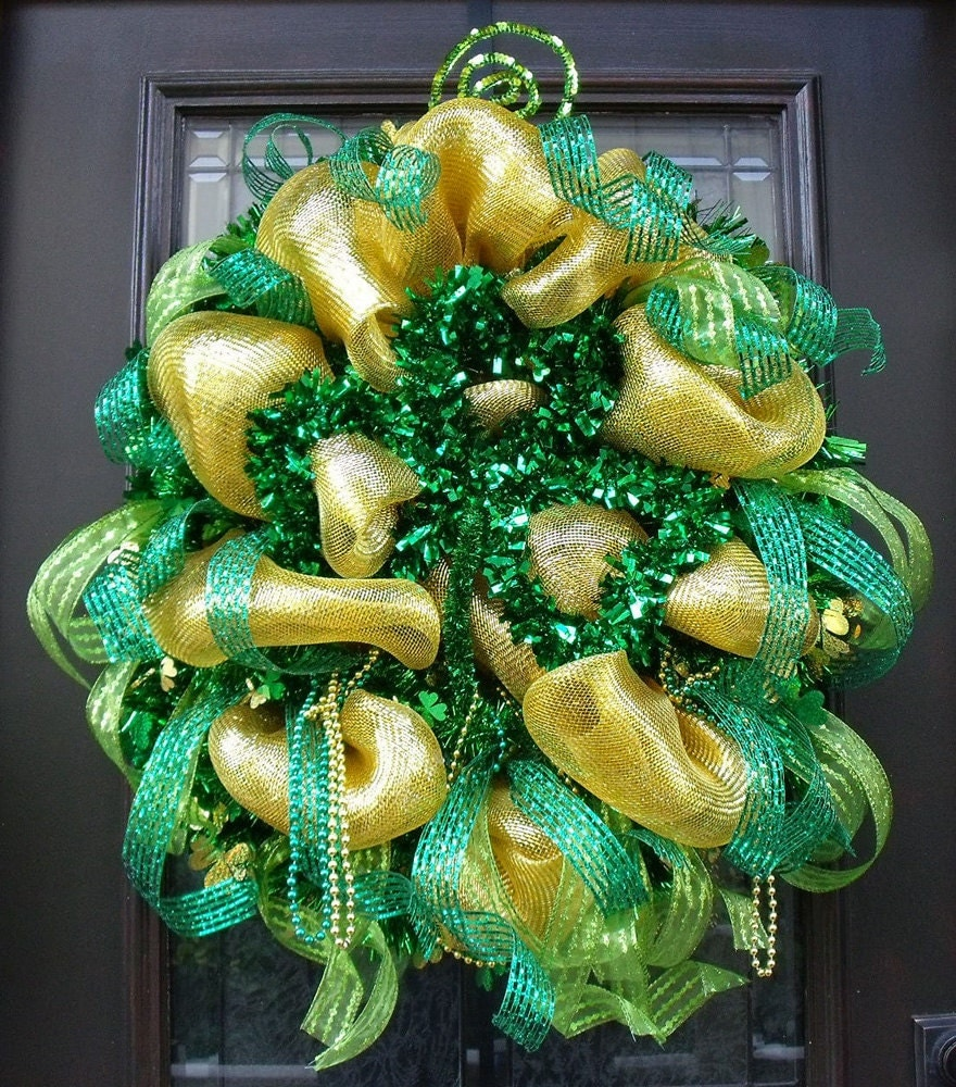 st patricks day wreath deco mesh st patrick 39 s day. Black Bedroom Furniture Sets. Home Design Ideas