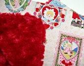Mini Baby Blanket - 18 x 20 inches - Cotton & Minky - Valentine