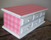 White Jewelry Box Vintage Shabby Distressed Off White