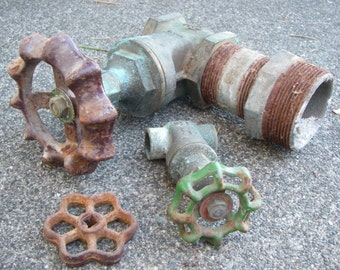 Vintage pipes valves handles spigot water main hose bibs wheel