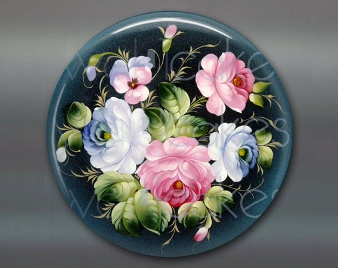 "3.5"" floral fridge magnet, russian trays flower decor, kitchen decor, large magnet, stocking stuffer  MA-331"