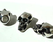 10 - Metal Chrome Skull Beads For Paracord Bracelets, Lanyards, & Other Projects (Vertical Hole)