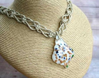 Hemp Necklace With Glass Beads and Glass Fancy Pendant