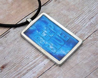 Leather Surfer Necklace Choker With Pewter Dog Tag Surfing Deep Blue