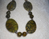 Fire Agate Necklace   Green Fire Agate     Green Fire Agate Necklace  Snake Jewelry  Statement  Necklace   Stones  Green Necklace