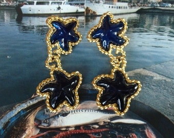 Big Blue Lucite Starfish Trifari Pierced Dangle Earrings