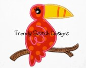 Toucan on Branch Applique Design Machine Embroidery INSTANT DOWNLOAD