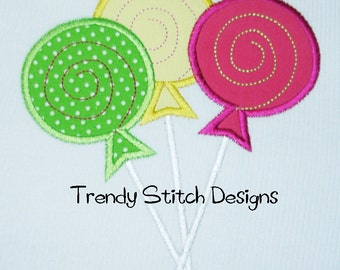 Sweet Shoppe Lollipop Trio Applique Design Machine Embroidery Design INSTANT DOWNLOAD
