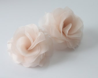 Bridal Hair Flowers,Silk Hair Flowers, White, Off White, Ivory, Blush Pink, Champagne-Style No.512