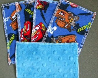 Kids Reusable Swipers - Cars Characters with Blue Dimple Minky Hanky (set of 5)