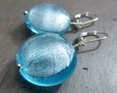 Sky Blue Earrings: translucent silvered blue blown glass sterling silver plated hinge back ear hooks wire wrapped