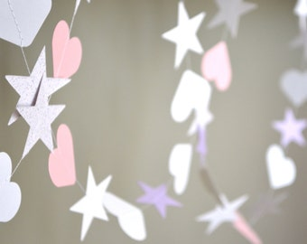 Princess Hearts and Stars Garland in pink, purple and white - 10 feet long, reusable and eco friendly