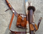 Multifunctional Tooled Leather Quiver Holding a Bow, a Knife and a Rope with a Detachable Pouch and Detachable Backpack