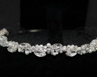 HPH5  Bridal Headpiece.Wedding Accessories.Bridal Rhinestone Headband.Bridal Rhinestone and Swarovski White Pearls Headband