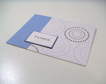 Blue and Black Dotted Circle Any Occasion One of a Kind Masculine Handmade Stamped Greeting Card - Father - Just for Him Collection