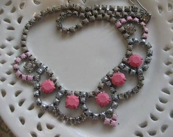 Hard Candy Cotton Candy.vintage 195Os rhinestone upcycled necklace