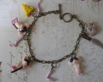Three Blind Mice.handsculpted polymer clay whimsical bracelet