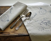 2 linen French postcard placemats/napkins