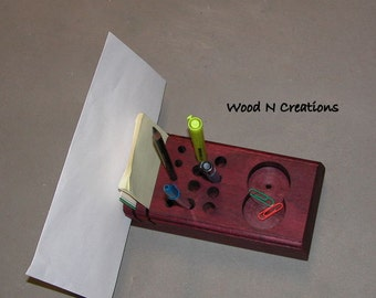 Desk Top Organizer - Office or Home - Pencil Holder -  Mail Slots