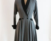 equestrian coat dress - virgin wool coat dress - QuinceVintage