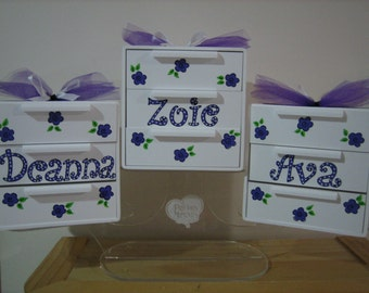 Personalized Purple Flower Girl Jewelry Box- Flowers , Butterfly- Custom Colors Birthday ,Communion , Christening, Newborn Gift