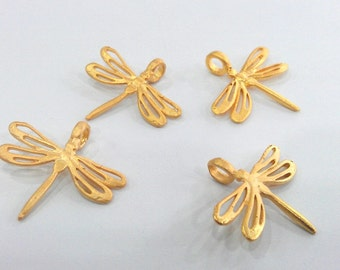 2 Gold  Charms Gold Plated Brass Dragonfly Charms  G66