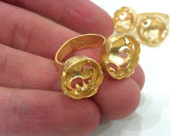 Adjustable Ring Base Blank with ( 12-13 mm Blank), Gold Plated Brass G304