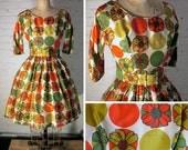 SALE! Vintage 1950s Silk Cocktail Party Dress Designed by GiGi Young with Colorful Flower and Polka Dot Print, Size Small, Extra Small