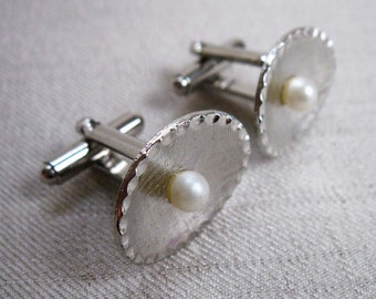 Vintage Cufflinks, Oval and Pearl Design, Textured Silver Tone Metal, 1960s