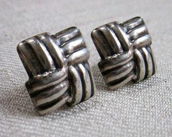 Vintage Sterling Silver Post Earrings, Basket Weave Square Design, Geometric Embossed Sterling Silver Post Stud Earrings