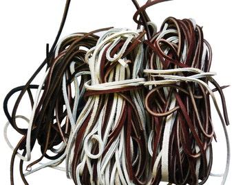 1 lb of Spaghetti Scrap Leather Strips