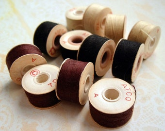 Vintage Paper Bobbins Thread, Set of 12, Brown, Black and Cream