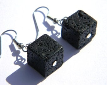 Lave Rock Cube Dangle Earrings- Geekery - Handmade - Accessories - Unique - Gifts Under 10, 15, 20, 25