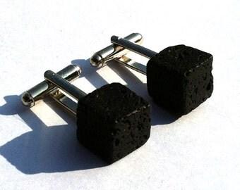 Lava Rock Cube Cufflinks- Geekery - Handmade - Accessories - Unique - Gifts Under 15, 20, 25