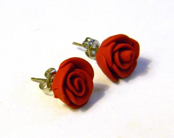 Red Valentine's Day Handmade Rose Bud Stud Earrings - Polymer Clay Jewelry - Surgical Steel Post - Any Color - Gifts Under 10, 15, 20, 2