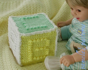 Crochet Alphabet Cube Toy Pattern, PDF pattern, Baby soft toy, Cube soft cube block toy for boy or girl, one skein project