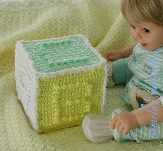 """Crochet Alphabet Cube Toy Pattern, PDF pattern, one skein project,  5.5"""" (14 cm) square approx"""